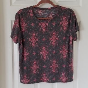 Mudd Weekend Tee Shirt Floral Gray & Pink {XL}